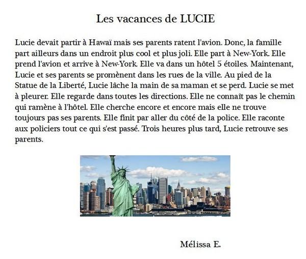 Melissa E les vacances de Lucie