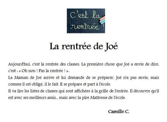 Camille C la rentree de Joe