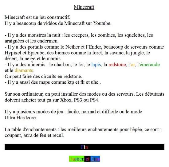 Minecraft-Bastien H Ilian V