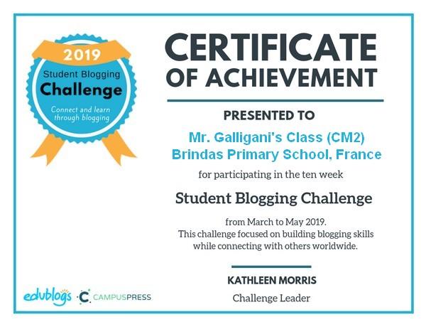Tâches hebdomadaires | CM2 de l'école de Brindas, FRANCE